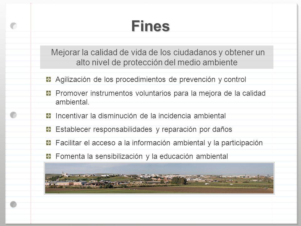Fines Agilización de los procedimientos de prevención y control Promover instrumentos voluntarios para la mejora de la calidad ambiental. Incentivar l