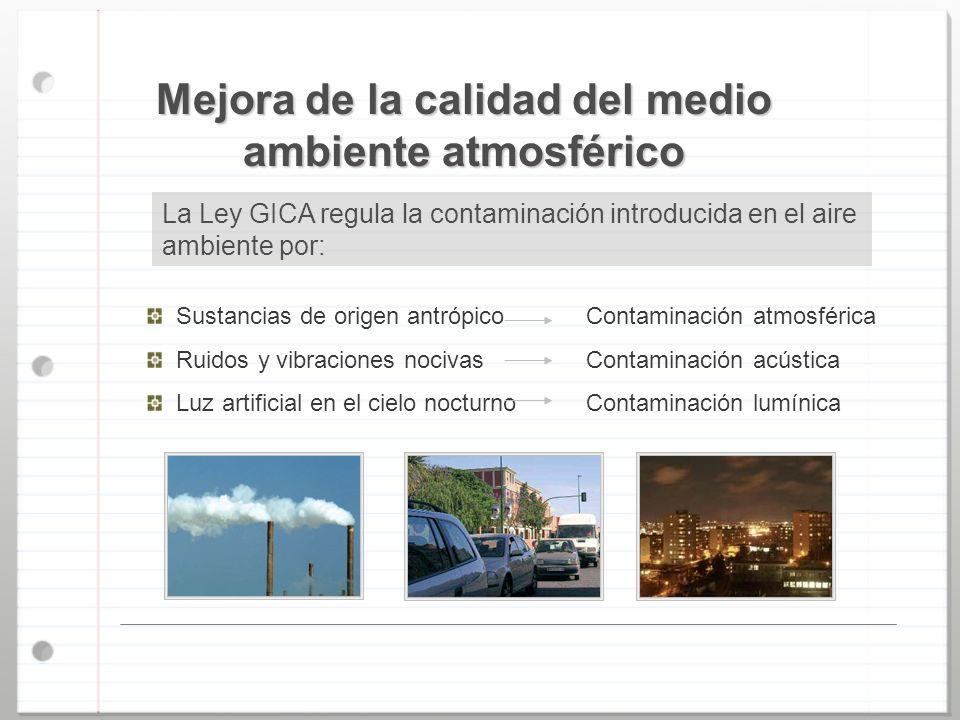 Mejora de la calidad del medio ambiente atmosférico Sustancias de origen antrópico Ruidos y vibraciones nocivas Luz artificial en el cielo nocturno Co