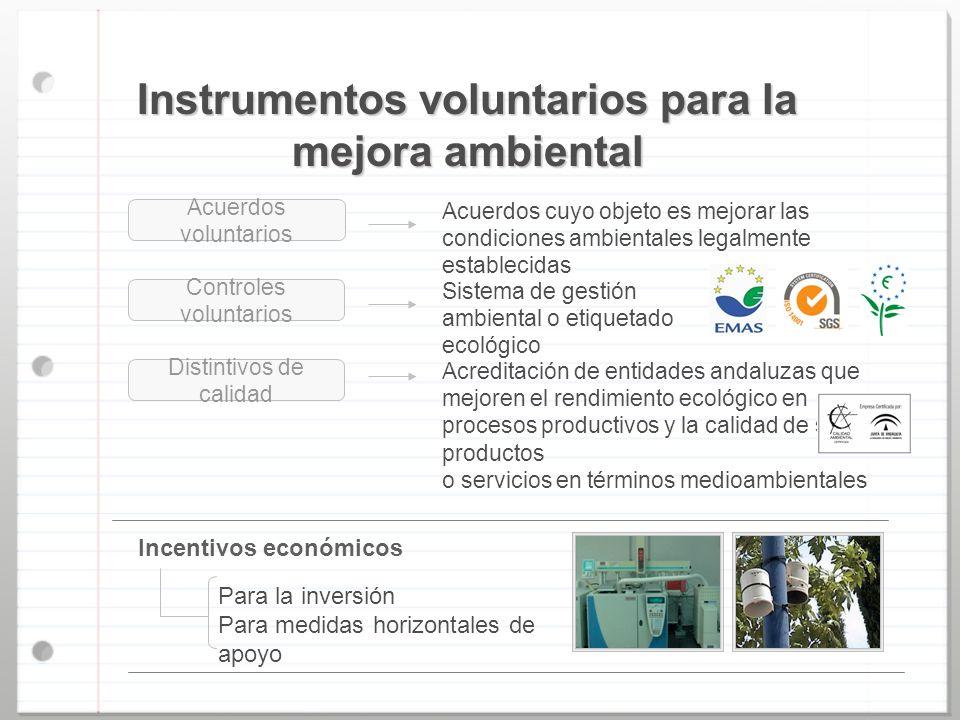 Instrumentos voluntarios para la mejora ambiental Controles voluntarios Distintivos de calidad Acuerdos cuyo objeto es mejorar las condiciones ambient