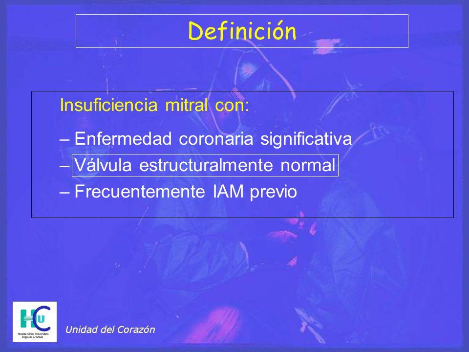 Unidad del Corazón Insuficiencia mitral con: –Enfermedad coronaria significativa –Válvula estructuralmente normal –Frecuentemente IAM previo Definición