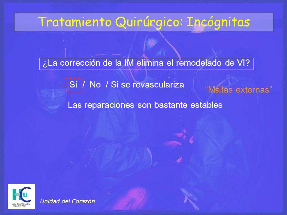 Unidad del Corazón Tratamiento Quirúrgico: Incógnitas ¿La corrección de la IM elimina el remodelado de VI? Mallas externas Sí / No / Si se revasculari