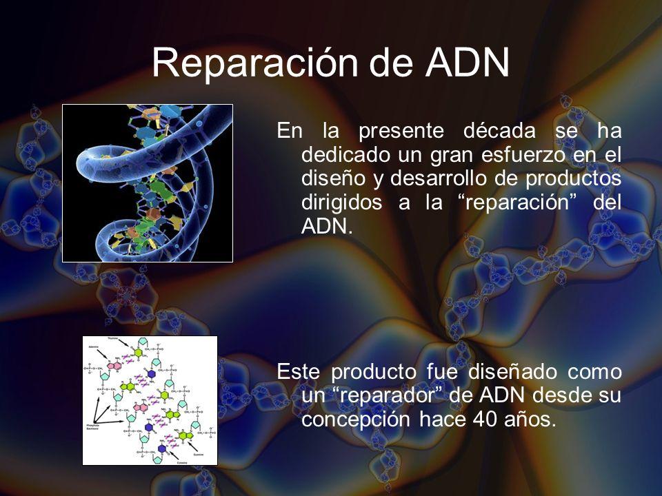 Reparación de ADN En la presente década se ha dedicado un gran esfuerzo en el diseño y desarrollo de productos dirigidos a la reparación del ADN. Este