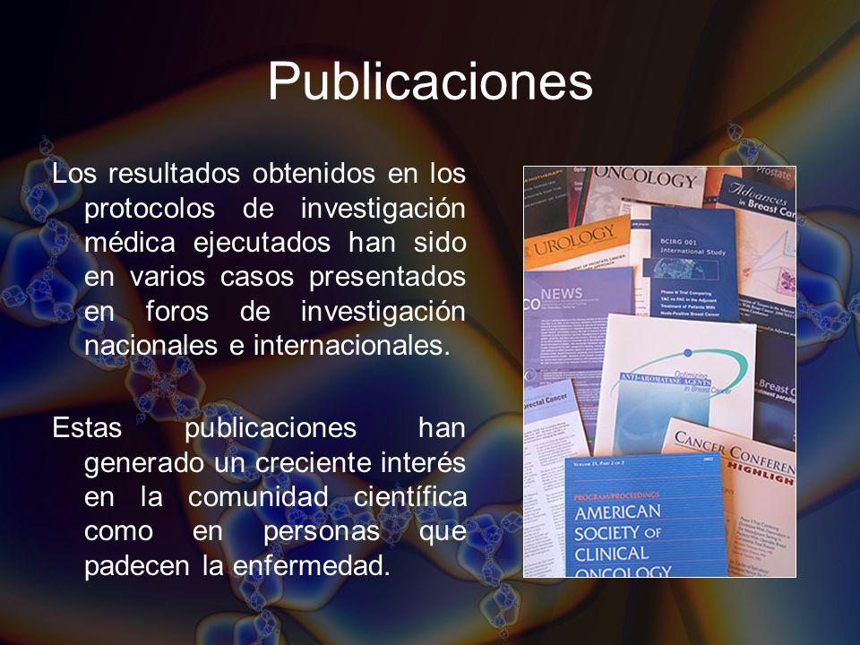 Publicaciones Los resultados obtenidos en los protocolos de investigación médica ejecutados han sido en varios casos presentados en foros de investiga