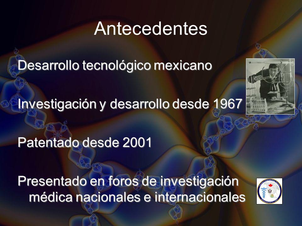 Antecedentes Desarrollo tecnológico mexicano Investigación y desarrollo desde 1967 Patentado desde 2001 Presentado en foros de investigación médica na