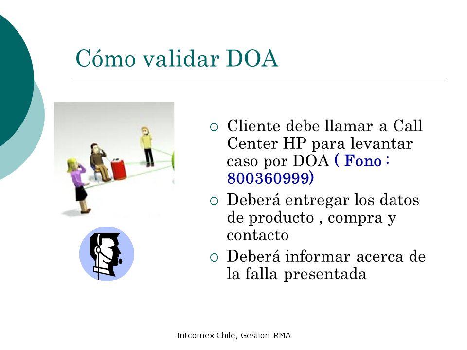 Intcomex Chile, Gestion RMA Cómo validar DOA Cliente debe llamar a Call Center HP para levantar caso por DOA ( Fono : 800360999) Deberá entregar los d