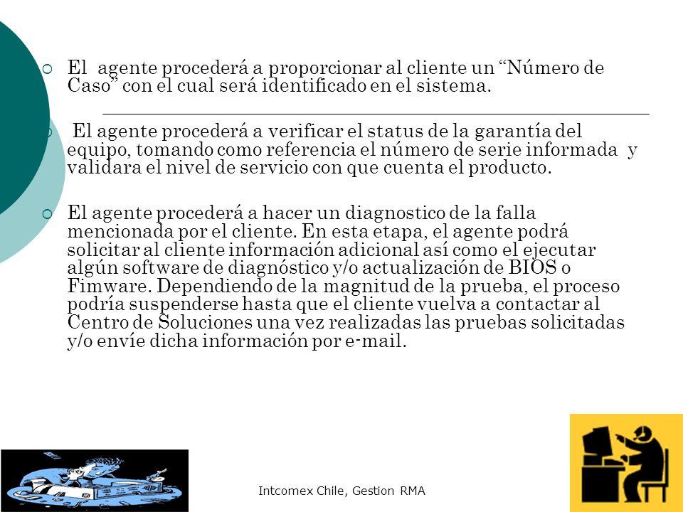 Intcomex Chile, Gestion RMA El agente procederá a proporcionar al cliente un Número de Caso con el cual será identificado en el sistema. El agente pro