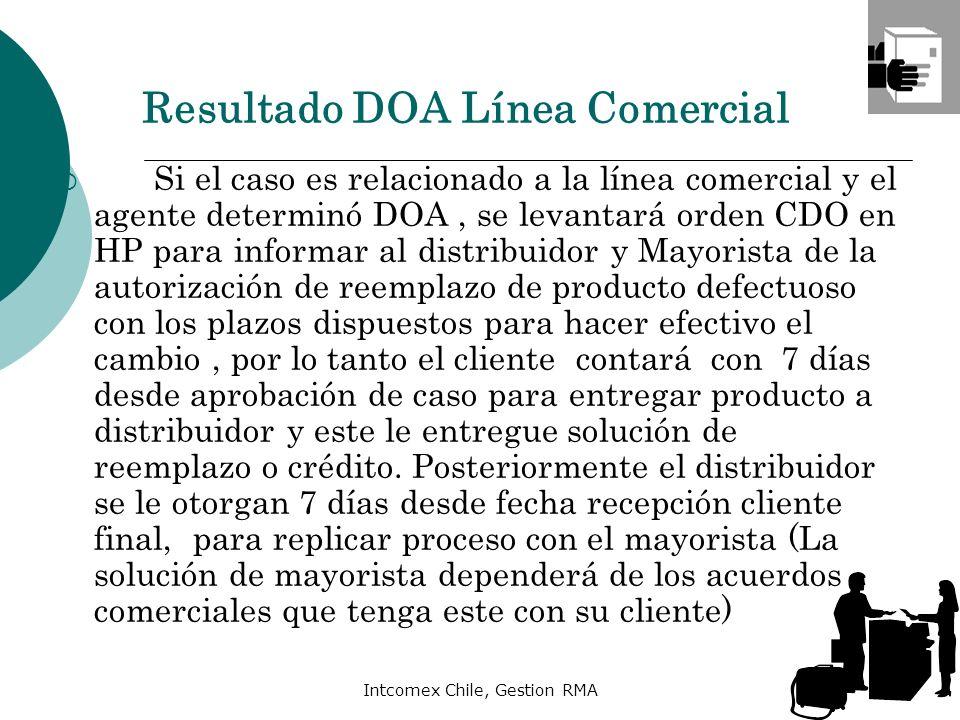 Intcomex Chile, Gestion RMA Si el caso es relacionado a la línea comercial y el agente determinó DOA, se levantará orden CDO en HP para informar al di