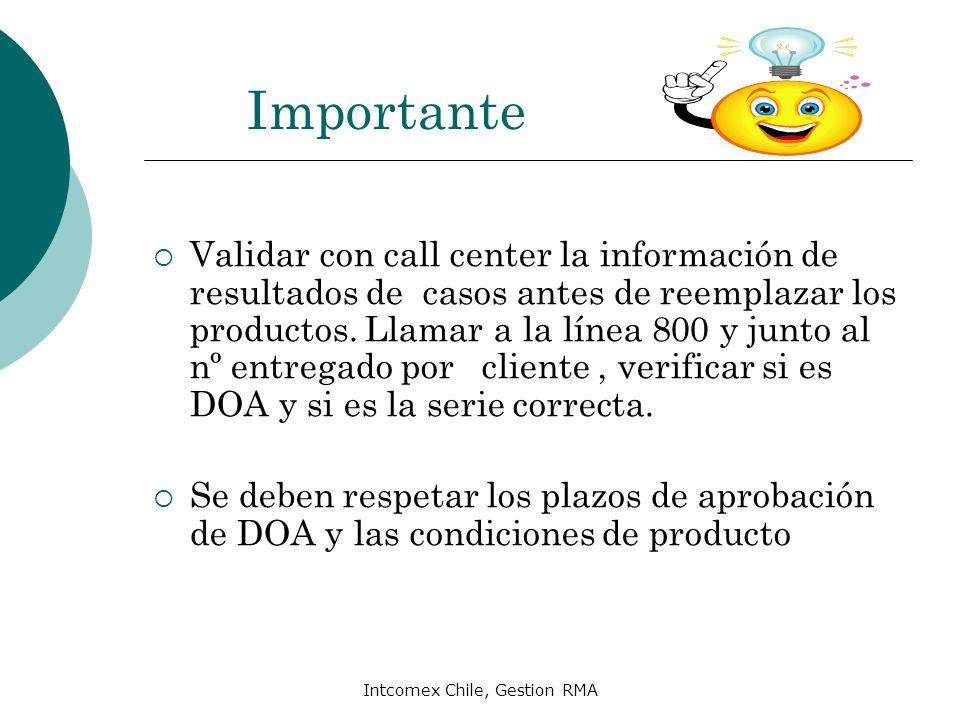 Intcomex Chile, Gestion RMA Importante Validar con call center la información de resultados de casos antes de reemplazar los productos. Llamar a la lí