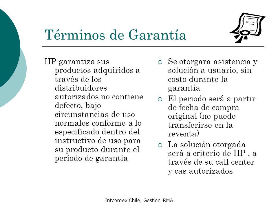 Intcomex Chile, Gestion RMA Términos de Garantía HP garantiza sus productos adquiridos a través de los distribuidores autorizados no contiene defecto,