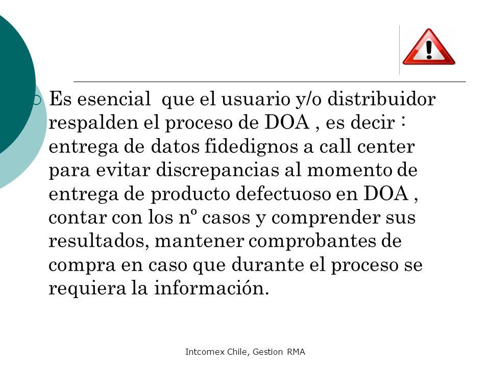 Intcomex Chile, Gestion RMA Es esencial que el usuario y/o distribuidor respalden el proceso de DOA, es decir : entrega de datos fidedignos a call cen