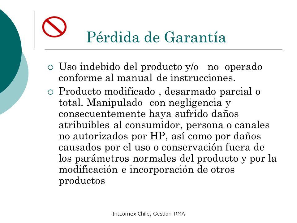 Intcomex Chile, Gestion RMA Pérdida de Garantía Uso indebido del producto y/o no operado conforme al manual de instrucciones. Producto modificado, des
