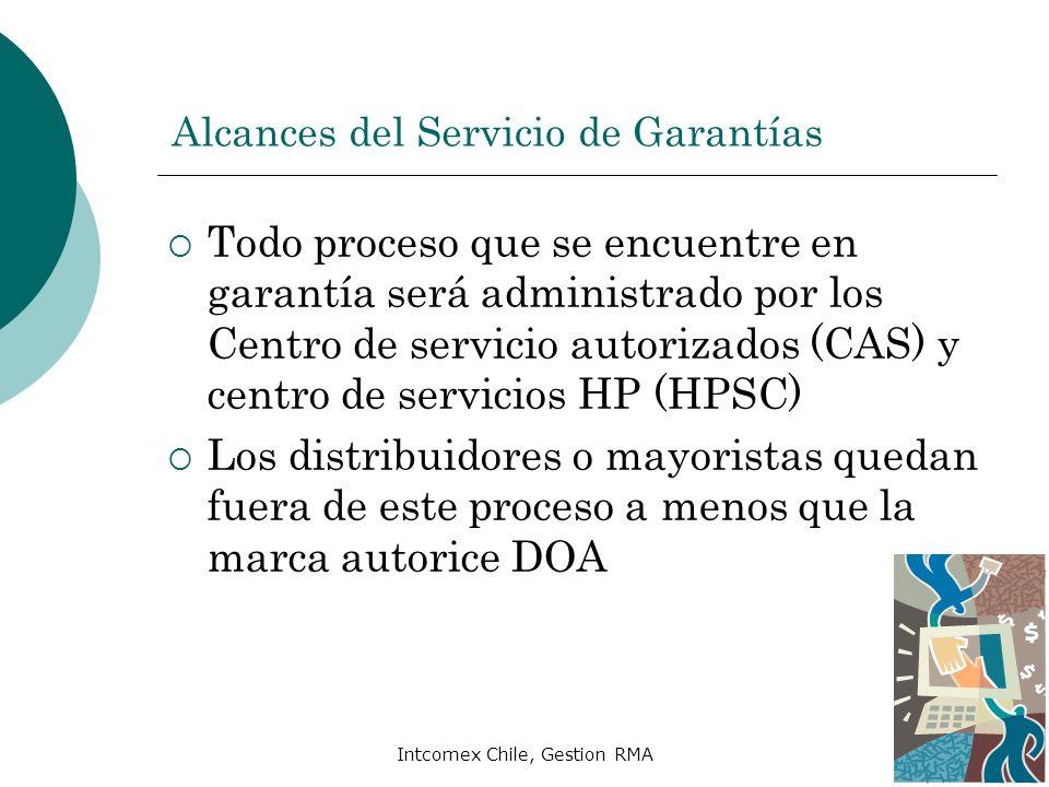 Intcomex Chile, Gestion RMA Alcances del Servicio de Garantías Todo proceso que se encuentre en garantía será administrado por los Centro de servicio