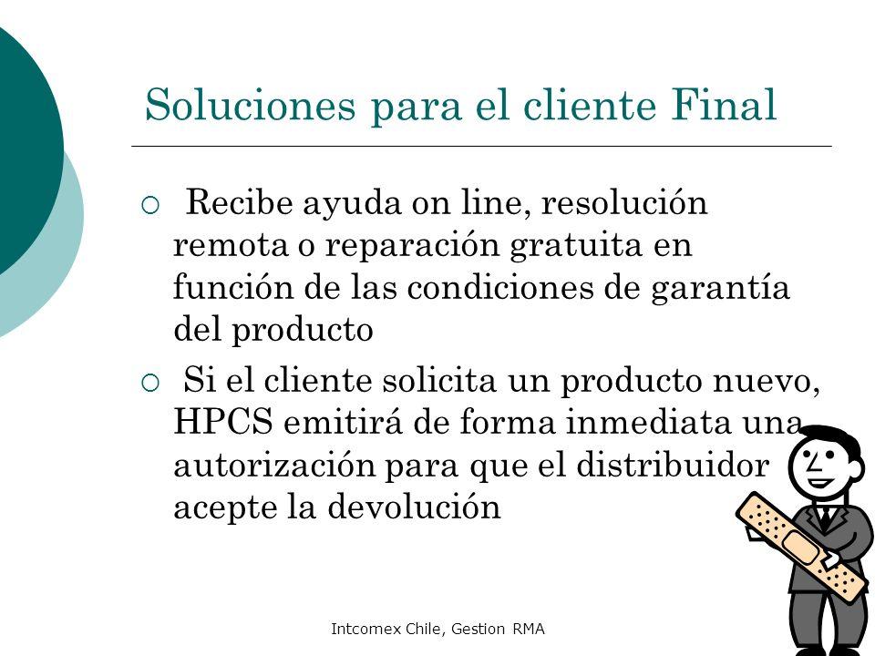 Intcomex Chile, Gestion RMA Cómo validar DOA Cliente debe llamar a Call Center HP para levantar caso por DOA ( Fono : 800360999) Deberá entregar los datos de producto, compra y contacto Deberá informar acerca de la falla presentada