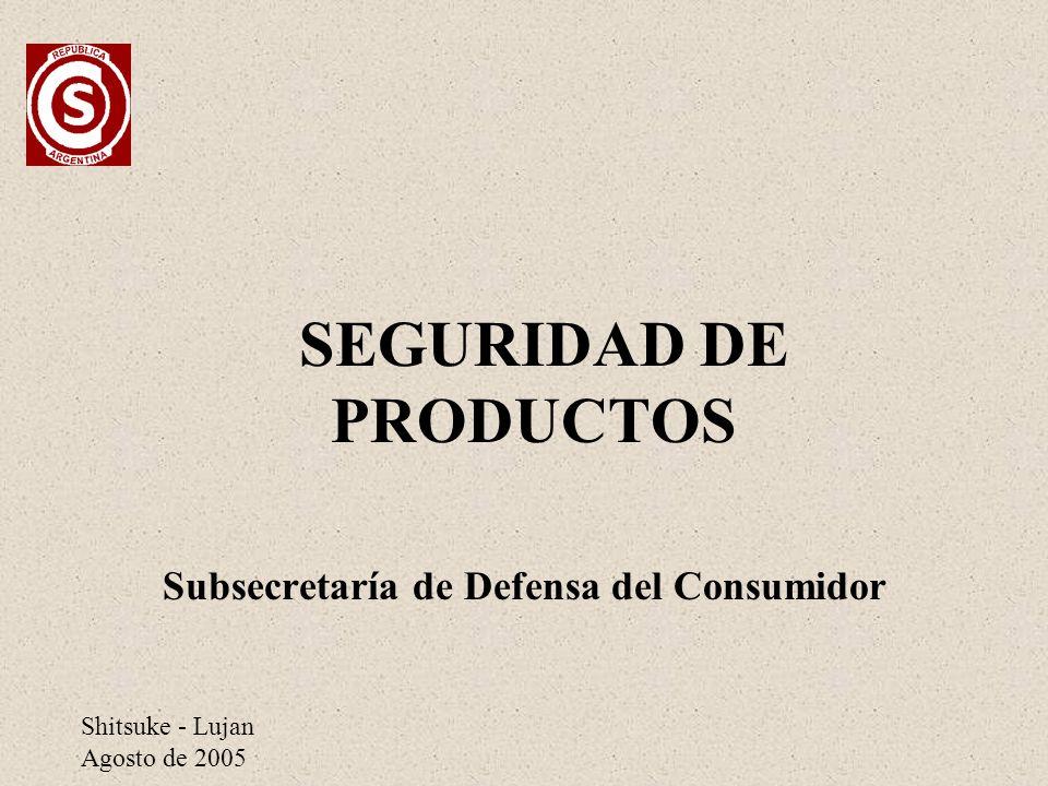 Shitsuke - Lujan Agosto de 2005 SEGURIDAD DE PRODUCTOS Subsecretaría de Defensa del Consumidor
