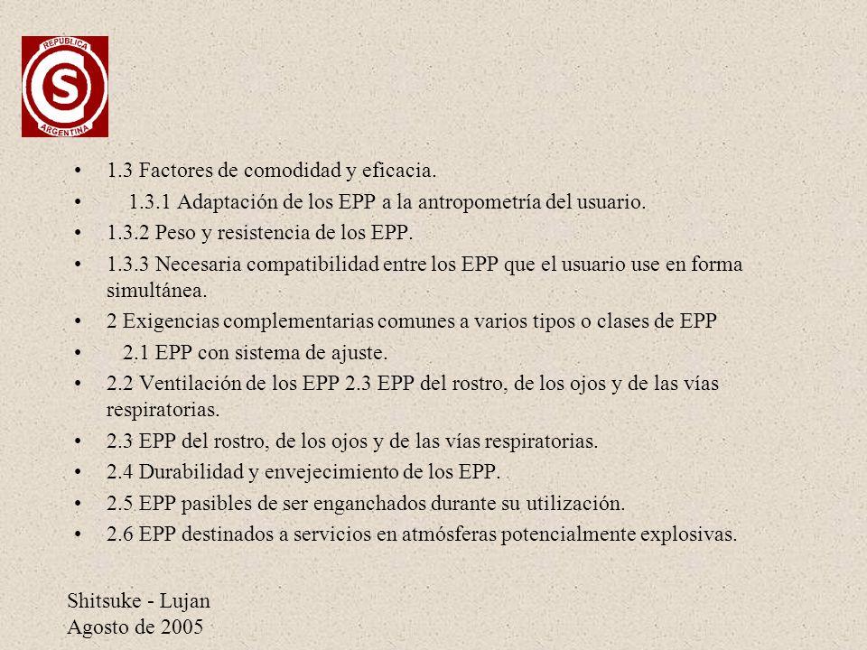 Shitsuke - Lujan Agosto de 2005 1.3 Factores de comodidad y eficacia. 1.3.1 Adaptación de los EPP a la antropometría del usuario. 1.3.2 Peso y resiste