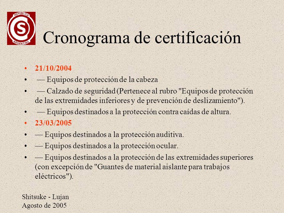 Shitsuke - Lujan Agosto de 2005 Cronograma de certificación 21/10/2004 Equipos de protección de la cabeza Calzado de seguridad (Pertenece al rubro