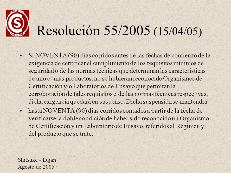 Shitsuke - Lujan Agosto de 2005 Resolución 55/2005 (15/04/05) Si NOVENTA (90) días corridos antes de las fechas de comienzo de la exigencia de certifi