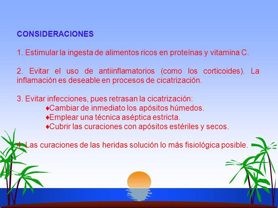 CONSIDERACIONES 1. Estimular la ingesta de alimentos ricos en proteínas y vitamina C. 2. Evitar el uso de antiinflamatorios (como los corticoides). La