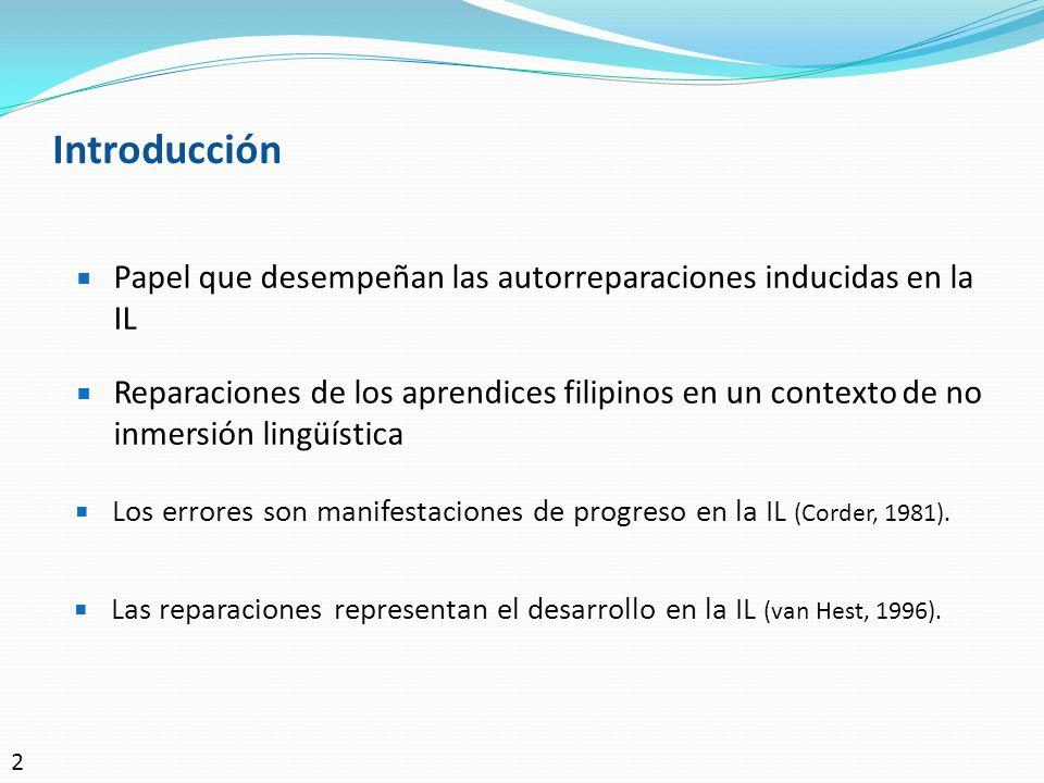 Introducción Las reparaciones representan el desarrollo en la IL (van Hest, 1996). Papel que desempeñan las autorreparaciones inducidas en la IL Repar