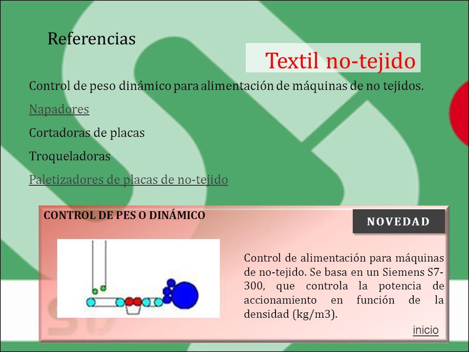Referencias Textil no-tejido Control de peso dinámico para alimentación de máquinas de no tejidos. Napadores Napadores Cortadoras de placas Troquelado