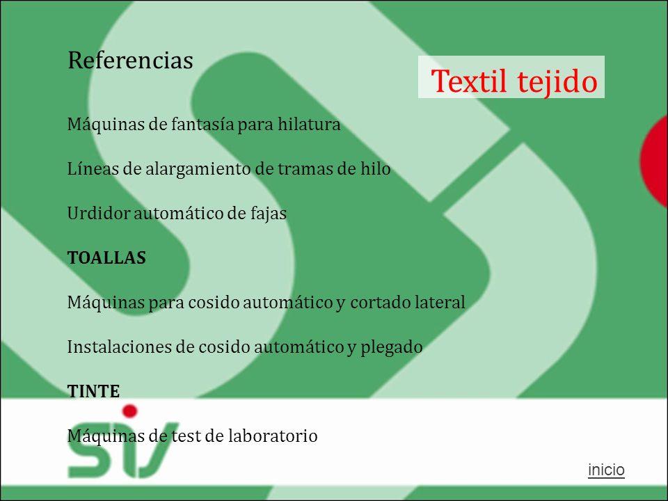 Referencias Textil tejido Máquinas de fantasía para hilatura Líneas de alargamiento de tramas de hilo Urdidor automático de fajas TOALLAS Máquinas par