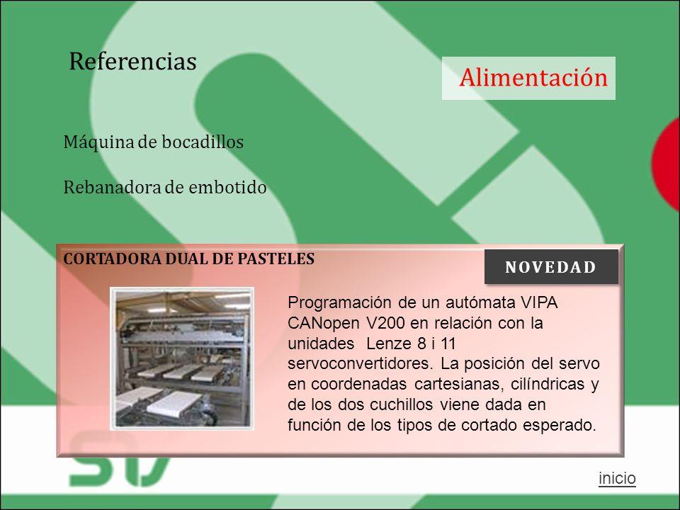 Referencias Alimentación CORTADORA DUAL DE PASTELES Programación de un autómata VIPA CANopen V200 en relación con la unidades Lenze 8 i 11 servoconver