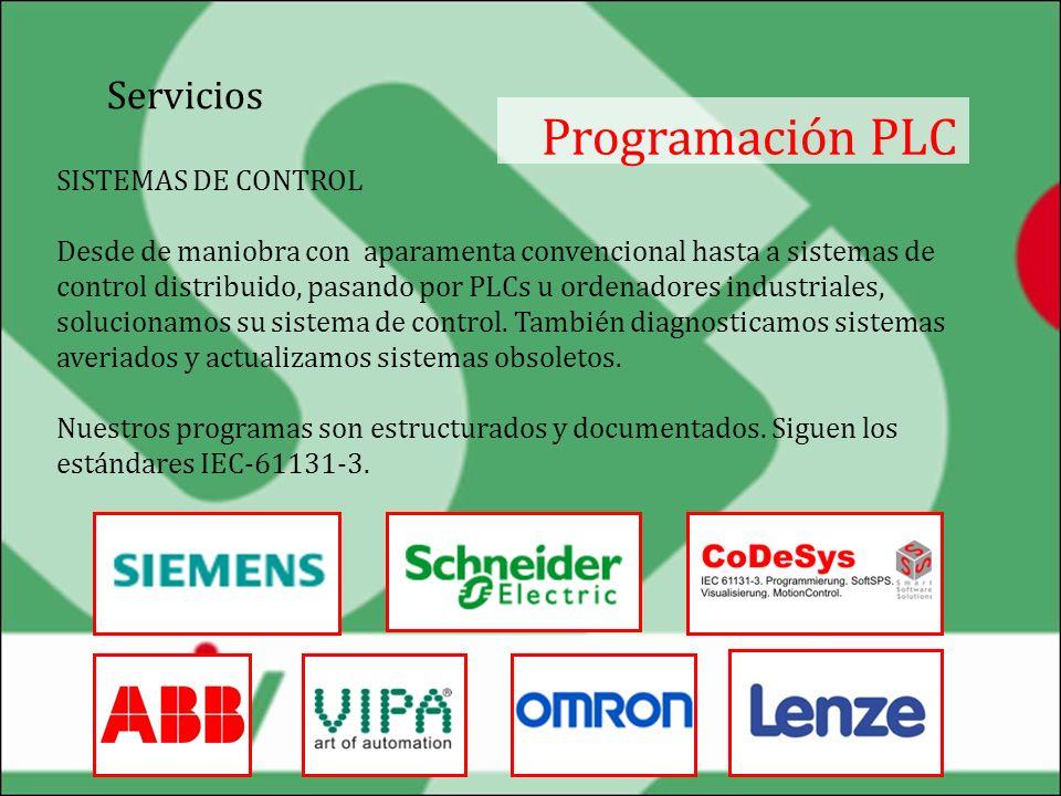 Servicios Programación PLC · Programación, mantenimiento y diagnóstico de autómatas: ABB, Schneider, SIEMENS, OMRON, Lenze, VIPA, IDEC, Mitsubishi y otros; · Herramientas de programación: STEP7, Cx-Programmer, Gx-Devoloper, CoDeSys, WinLDR, Control Builder ABB; · Sistemas de control distribuido basados en: PROFIBUS, Mechatrolink, DeviceNet, Modbus i CAN / CANopen; · Diagnóstico remoto mediante conexiones GSM / GPRS / internet; · Electrónica industrial.