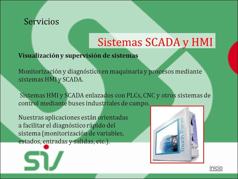 Servicios Sistemas SCADA y HMI Visualización y supervisión de sistemas Monitorización y diagnóstico en maquinaria y procesos mediante sistemas HMI y S