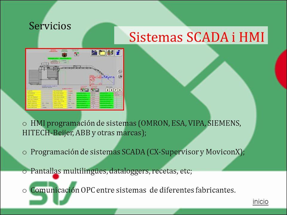 Servicios Sistemas SCADA i HMI o HMI programación de sistemas (OMRON, ESA, VIPA, SIEMENS, HITECH-Beijer, ABB y otras marcas); o Programación de sistem