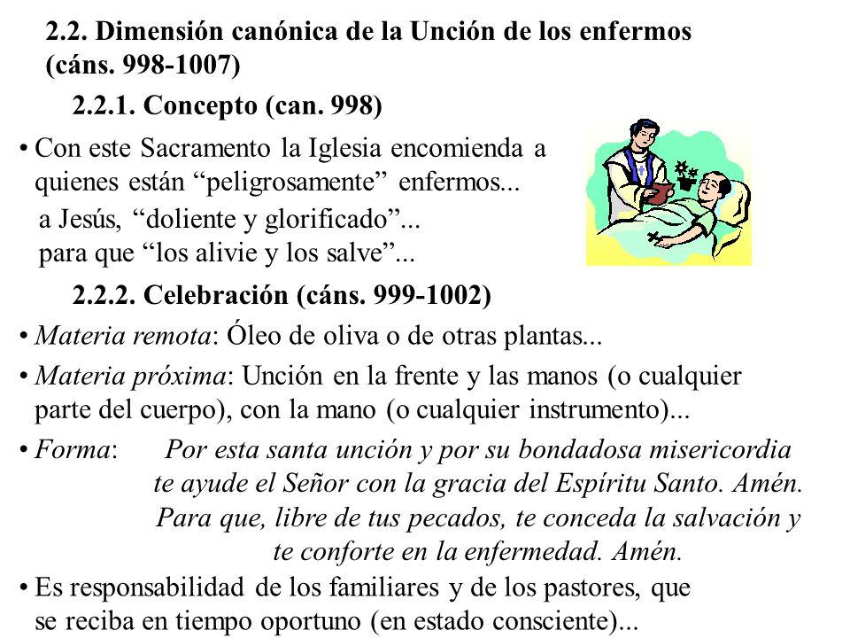 2.2. Dimensión canónica de la Unción de los enfermos (cáns. 998-1007) 2.2.1. Concepto (can. 998) Con este Sacramento la Iglesia encomienda a quienes e