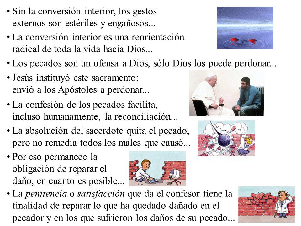 Sin la conversión interior, los gestos externos son estériles y engañosos... La conversión interior es una reorientación radical de toda la vida hacia