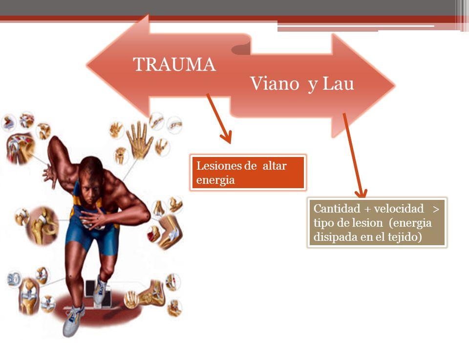TRAUMA Viano y Lau Lesiones de altar energia Cantidad + velocidad > tipo de lesion (energia disipada en el tejido)