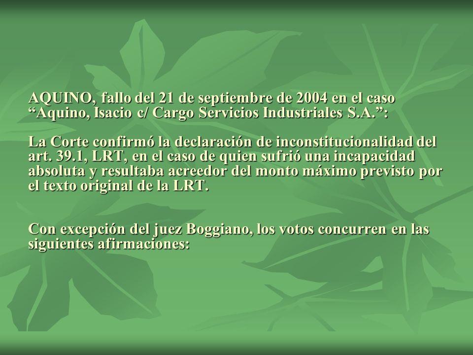 AQUINO, fallo del 21 de septiembre de 2004 en el caso Aquino, Isacio c/ Cargo Servicios Industriales S.A.: La Corte confirmó la declaración de inconst