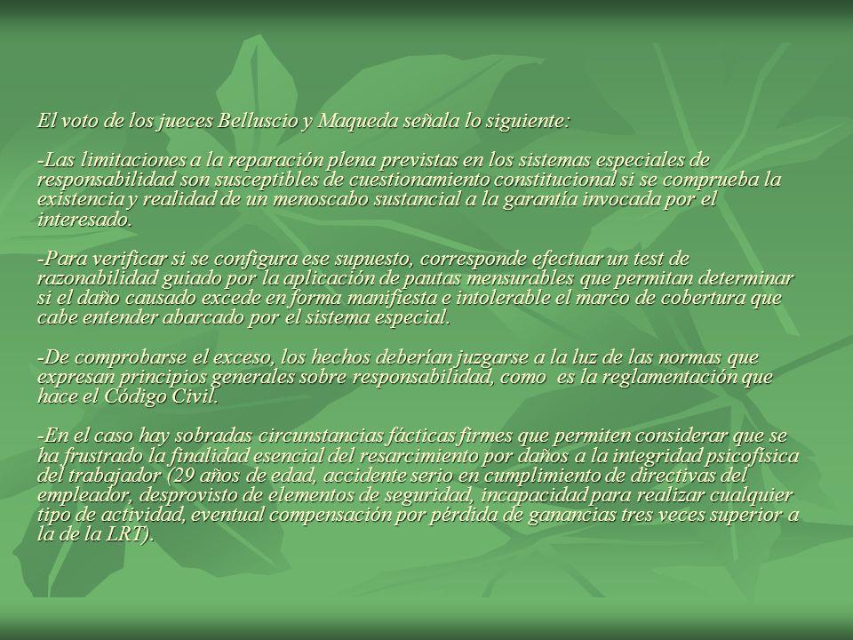 El voto de los jueces Belluscio y Maqueda señala lo siguiente: -Las limitaciones a la reparación plena previstas en los sistemas especiales de respons