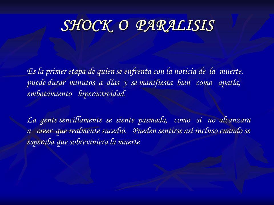 SHOCK O PARALISIS Es la primer etapa de quien se enfrenta con la noticia de la muerte. puede durar minutos a días y se manifiesta bien como apatía, em
