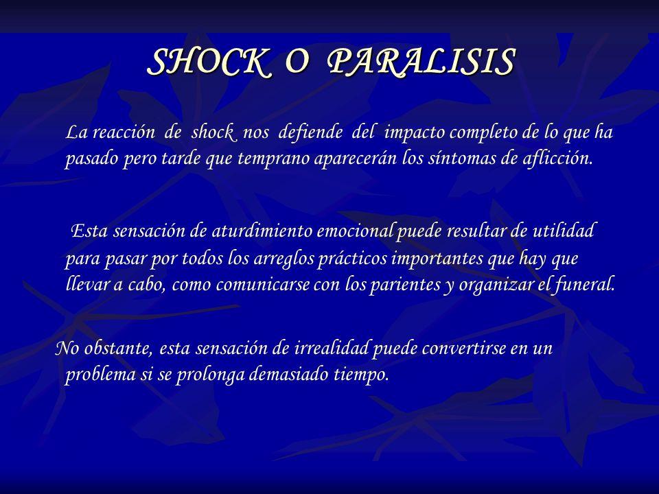 SHOCK O PARALISIS La reacción de shock nos defiende del impacto completo de lo que ha pasado pero tarde que temprano aparecerán los síntomas de aflicc