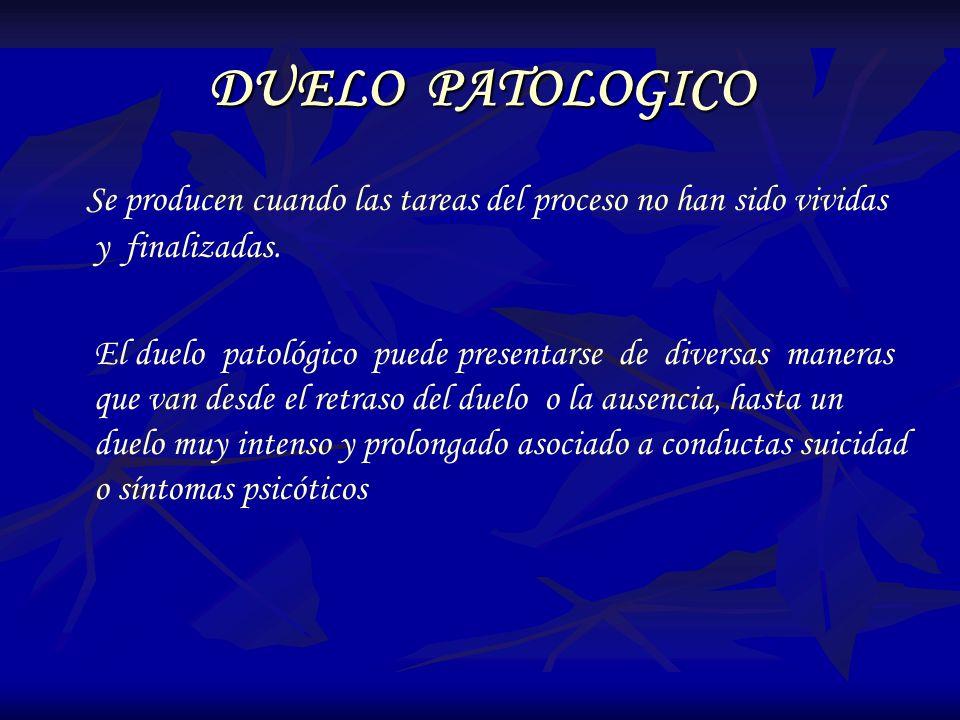 DUELO PATOLOGICO Se producen cuando las tareas del proceso no han sido vividas y finalizadas. El duelo patológico puede presentarse de diversas manera