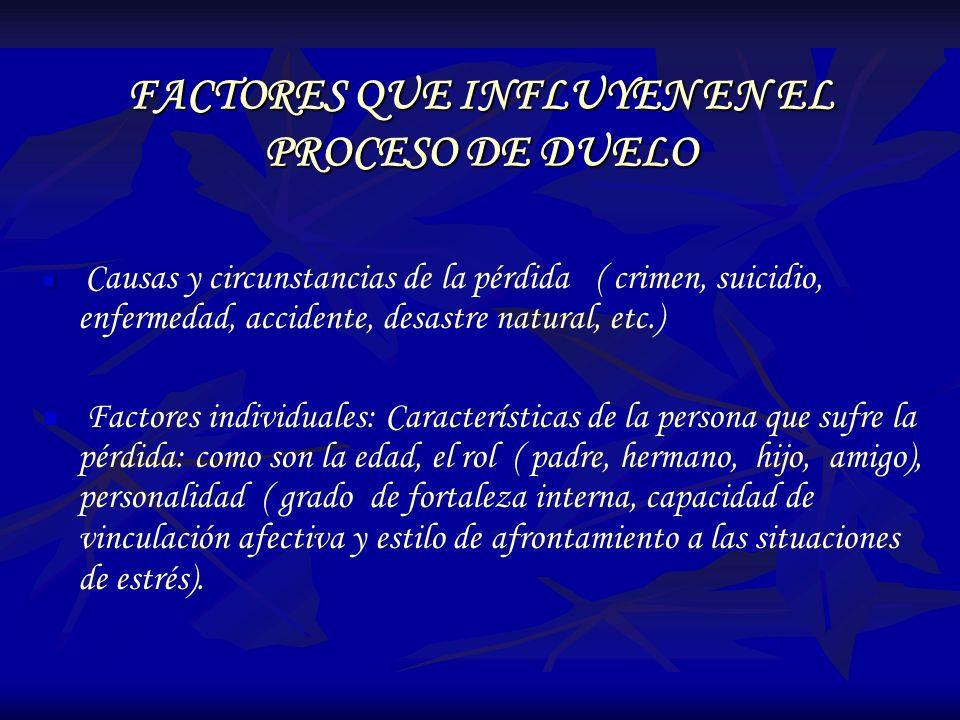 FACTORES QUE INFLUYEN EN EL PROCESO DE DUELO Causas y circunstancias de la pérdida ( crimen, suicidio, enfermedad, accidente, desastre natural, etc.)