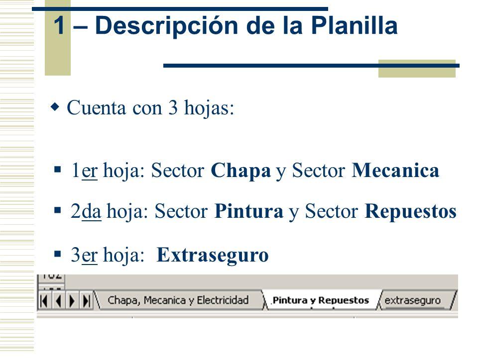 1er hoja: Sector Chapa y Sector Mecanica 1 – Descripción de la Planilla 3er hoja: Extraseguro 2da hoja: Sector Pintura y Sector Repuestos Cuenta con 3
