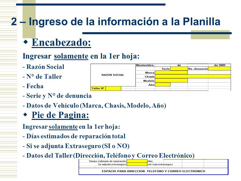 2 – Ingreso de la información a la Planilla Encabezado: Ingresar solamente en la 1er hoja: - Razón Social - N° de Taller - Fecha - Serie y N° de denun