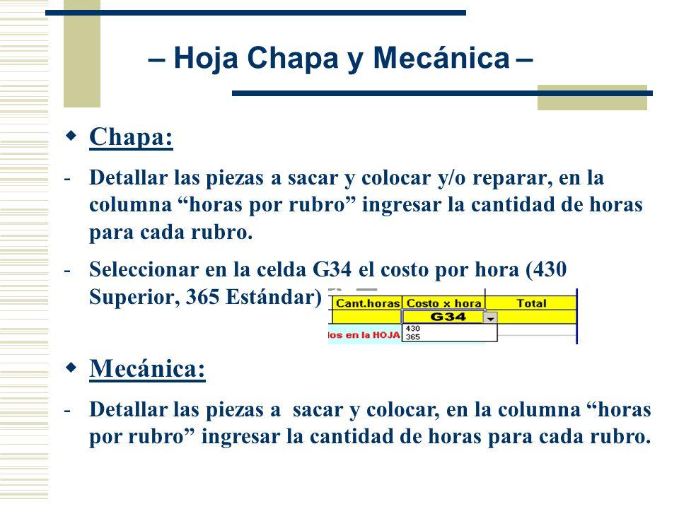 Chapa: -Detallar las piezas a sacar y colocar y/o reparar, en la columna horas por rubro ingresar la cantidad de horas para cada rubro. -Seleccionar e