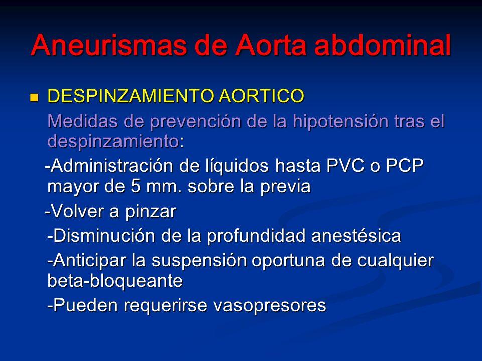 Aneurismas de Aorta abdominal DESPINZAMIENTO AORTICO DESPINZAMIENTO AORTICO Medidas de prevención de la hipotensión tras el despinzamiento: -Administración de líquidos hasta PVC o PCP mayor de 5 mm.
