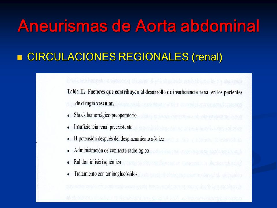 Aneurismas de Aorta abdominal CIRCULACIONES REGIONALES (renal) CIRCULACIONES REGIONALES (renal)