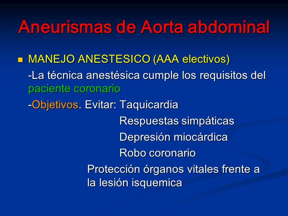Aneurismas de Aorta abdominal MANEJO ANESTESICO (AAA electivos) MANEJO ANESTESICO (AAA electivos) -La técnica anestésica cumple los requisitos del paciente coronario -Objetivos.