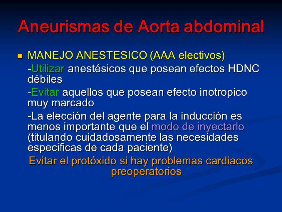 Aneurismas de Aorta abdominal MANEJO ANESTESICO (AAA electivos) MANEJO ANESTESICO (AAA electivos) -Utilizar anestésicos que posean efectos HDNC débiles -Evitar aquellos que posean efecto inotropico muy marcado -La elección del agente para la inducción es menos importante que el modo de inyectarlo (titulando cuidadosamente las necesidades especificas de cada paciente) Evitar el protóxido si hay problemas cardiacos preoperatorios