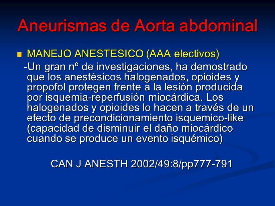 Aneurismas de Aorta abdominal MANEJO ANESTESICO (AAA electivos) MANEJO ANESTESICO (AAA electivos) -Un gran nº de investigaciones, ha demostrado que los anestésicos halogenados, opioides y propofol protegen frente a la lesión producida por isquemia-reperfusión miocárdica.