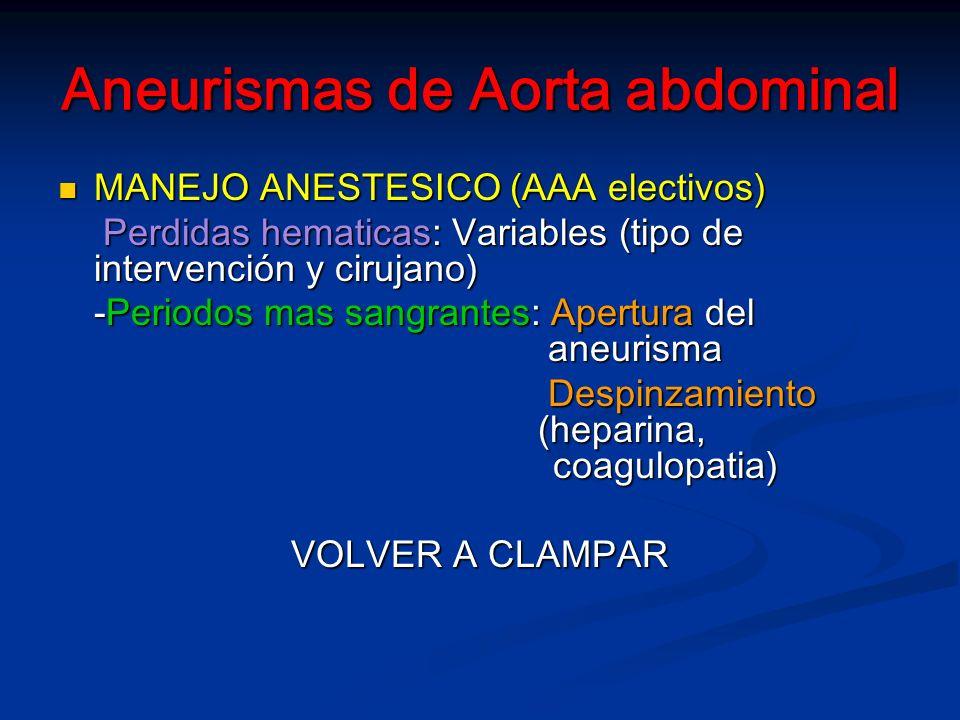 Aneurismas de Aorta abdominal MANEJO ANESTESICO (AAA electivos) MANEJO ANESTESICO (AAA electivos) Perdidas hematicas: Variables (tipo de intervención y cirujano) Perdidas hematicas: Variables (tipo de intervención y cirujano) -Periodos mas sangrantes: Apertura del aneurisma Despinzamiento (heparina, coagulopatia) Despinzamiento (heparina, coagulopatia) VOLVER A CLAMPAR