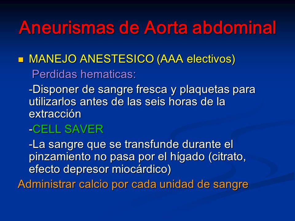 Aneurismas de Aorta abdominal MANEJO ANESTESICO (AAA electivos) MANEJO ANESTESICO (AAA electivos) Perdidas hematicas: Perdidas hematicas: -Disponer de sangre fresca y plaquetas para utilizarlos antes de las seis horas de la extracción -CELL SAVER -La sangre que se transfunde durante el pinzamiento no pasa por el hígado (citrato, efecto depresor miocárdico) Administrar calcio por cada unidad de sangre