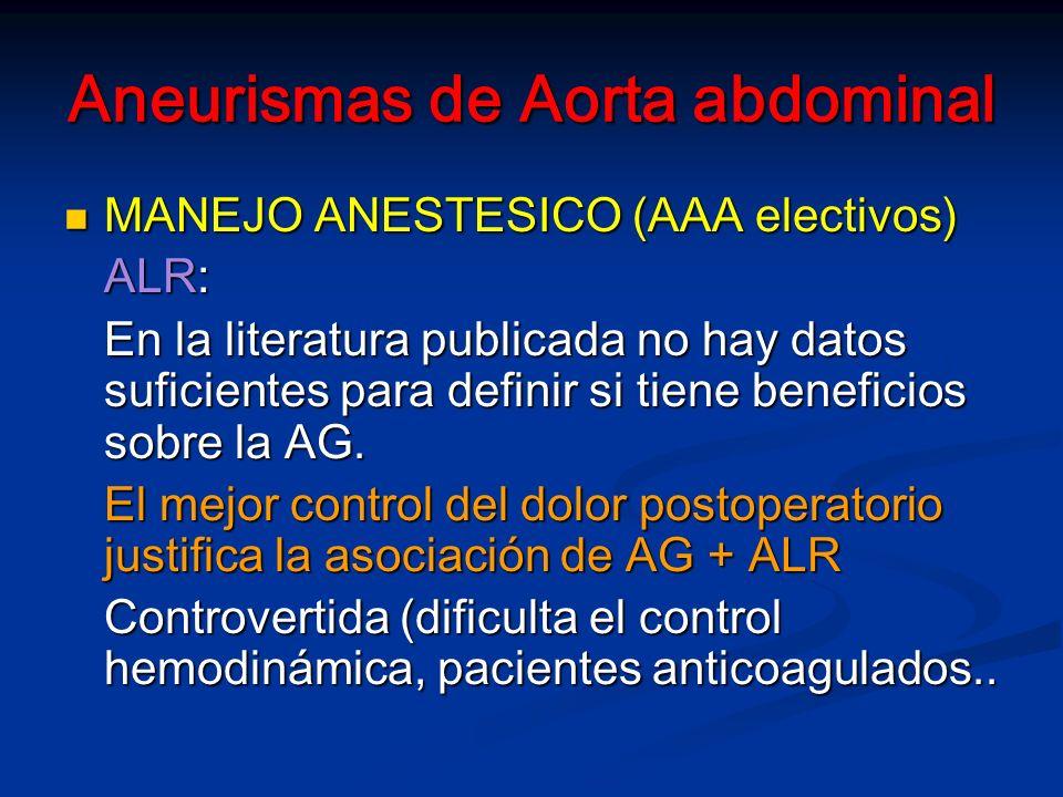 Aneurismas de Aorta abdominal MANEJO ANESTESICO (AAA electivos) MANEJO ANESTESICO (AAA electivos) ALR: En la literatura publicada no hay datos suficientes para definir si tiene beneficios sobre la AG.