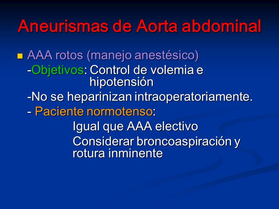 Aneurismas de Aorta abdominal AAA rotos (manejo anestésico) AAA rotos (manejo anestésico) -Objetivos: Control de volemia e hipotensión -No se heparinizan intraoperatoriamente.